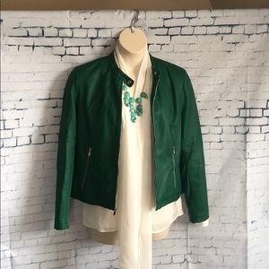 Hunter green leather-look and knit jacket